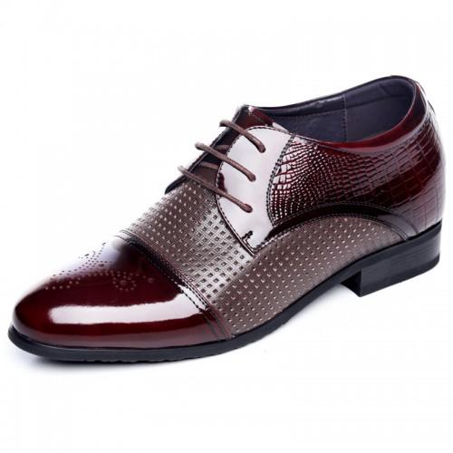 Glossy cowhide cap toe taller dress sandals for men