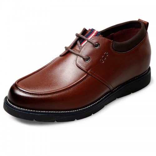 Quality Calfskin Business Casual Shoes Taller 2.4inch / 6cm Brown Lace Up Elevator Shoes