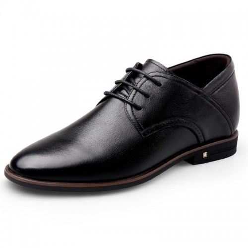 Super Soft Calfskin Elevator Formal Shoes for Men Taller 2.6inch / 6.5cm Black Plain Toe Dressy Shoes