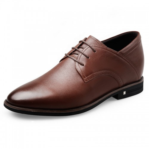 Super Soft Calfskin Men Elevator Formal Shoes Height 2.6inch / 6.5cm Brown Plain Toe Dressy Shoes
