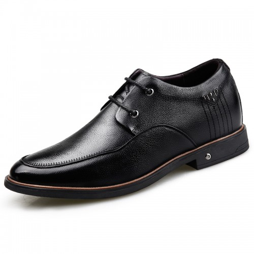 Black Soft Cowhide Leather Height Increasing Casual Business Shoes for Men Add Taller 2.6inch / 6.5cm