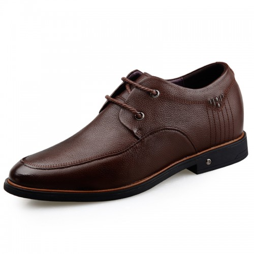 Brown Soft Cowhide Leather Height Increasing Men Casual Business Shoes Gain Taller 2.6inch / 6.5cm