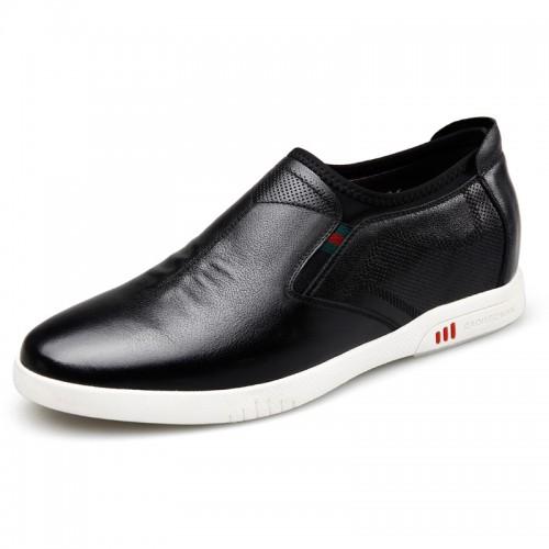 Comfort Height Increasing Skate for men Taller 2.4inch / 6cm Black Soft Calfskin Slip On Casual Shoes
