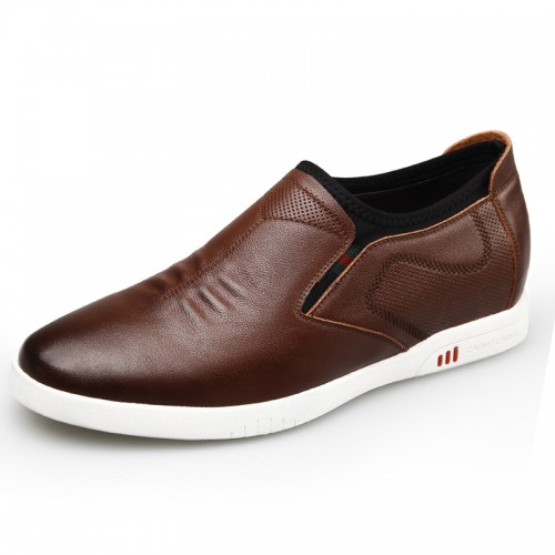 Brown Calfskin elevator skate shoes taller 2.4inch / 6cm Slip On Casual Shoes