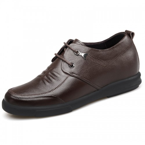 Low Top Hidden Lift Me Shoes Height 2.4inch / 6cm Brown Cowhide Elevator Casual Shoes
