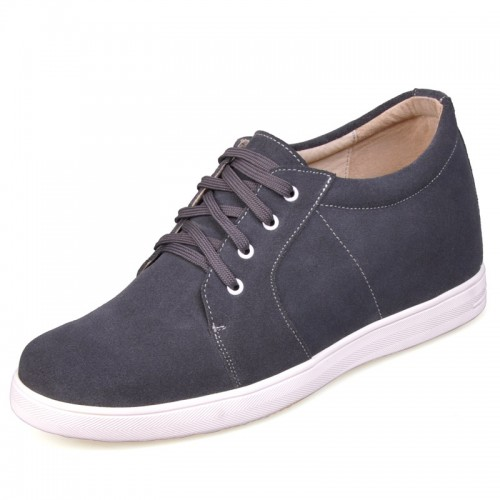 Fashion Grey Suede heighten shoes men elevator shoes increasing 7cm/2.75inchs