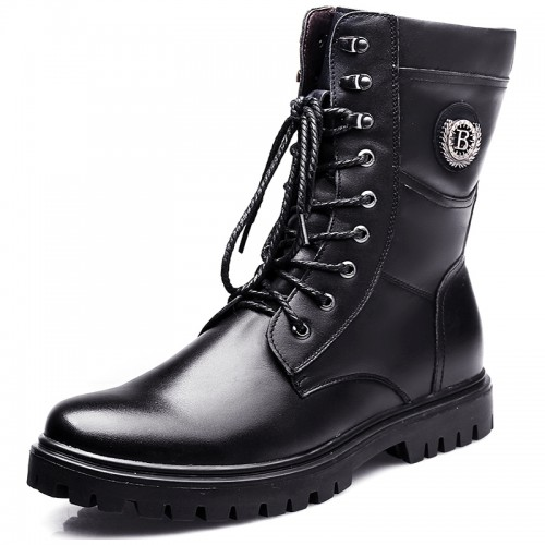 Fashion elevator motorcycle boot hidden taller 6.5cm / 2.6inch military boots