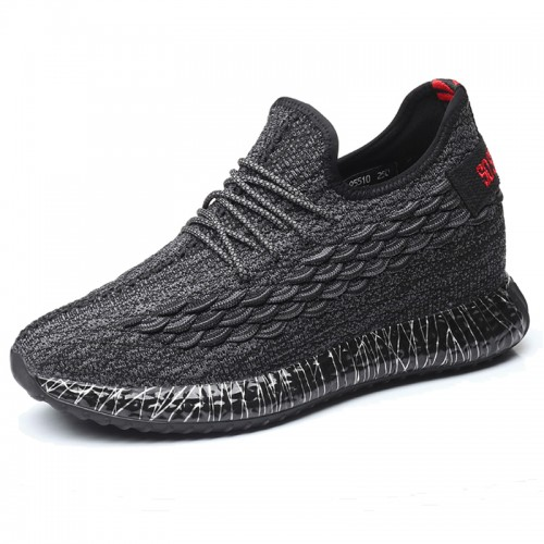 4inch Height Increasing Sneakers for Men Look Taller 10cm Soft Flyknit Elevator Walking Shoes