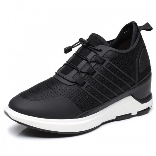 Black 4 Inch Elevator Trainers for Men Taller 10cm Breathable Hollow Out Height Increasing Walking Shoes