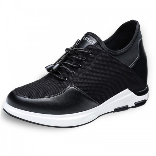 Black Hidden Heel Lift Sneakers Make You Look Taller 4Inch / 10cm Slip On Elevator Casual Shoes