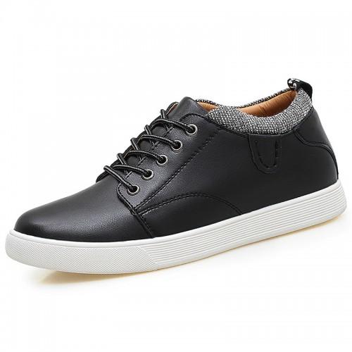 Versatile Elevator Trainers for Men Increase 2.4inch / 6cm Black Cowhide Hidden Heel Flat Skate Shoes
