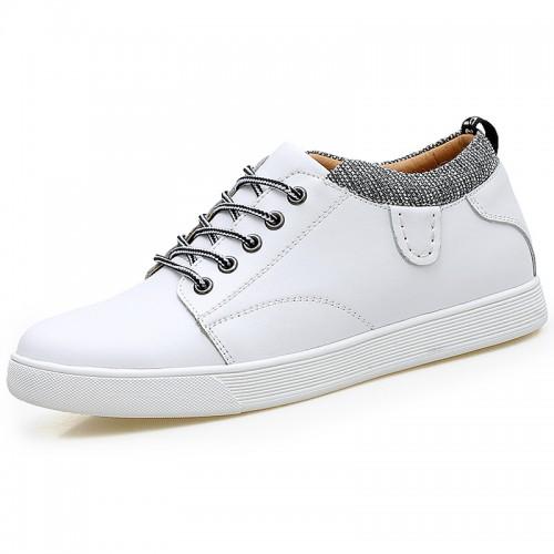Versatile Height Trainers for Men Add Taller 2.4inch / 6cm White Cowhide Hidden Heel Flat Skate Shoes