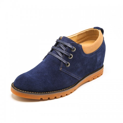 Comfortable Blue Cow Leather Elevator Casual Shoes Increase Height 6 cm / 2.36 inch