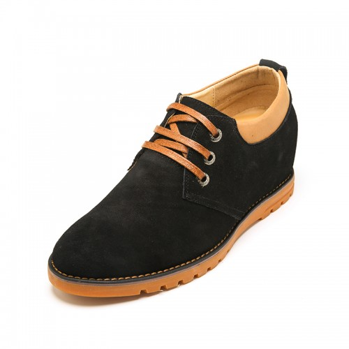 Comfortable Black Cow Leather Height Casual Shoes Add Taller 6 cm / 2.36 inch