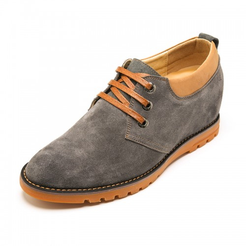 Comfortable Grey Cow Leather Taller Casual Shoes Add Height 6 cm / 2.36 inch
