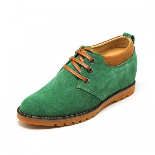 Comfortable Green Cow Leather Height Lift Casual Shoes Get Tall 6 cm / 2.36 inch
