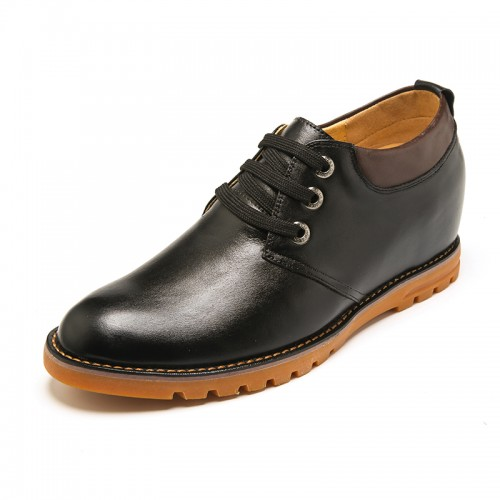 Fashion genuine leather elevated shoes 7cm / 2.75inch black plain toe lace up dress shoes
