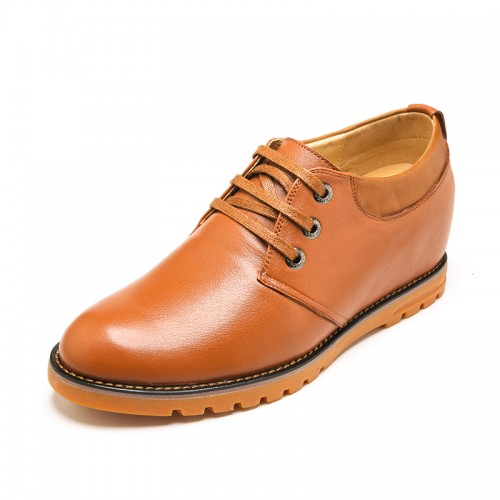 Fashion genuine leather taller shoes 7cm / 2.75inch yellow plain toe lace up dress shoes