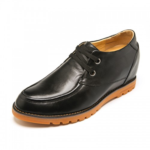 Soft black cowhide elevator men casual shoes to be tall 7cm / 2.75inch