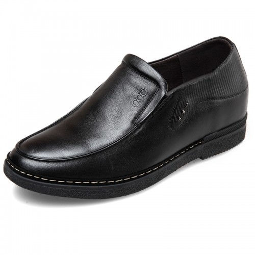 Soft cowhide slip on elevated casual business loafers 2.4inch / 6cm