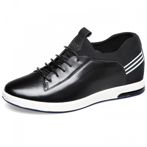 Comfortable calf leather lace up heighten casual shoes 2.4inch / 6cm Black