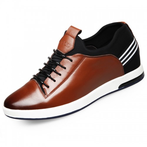 Comfortable calf leather lace up increasing casual shoes 2.4inch / 6cm Brown
