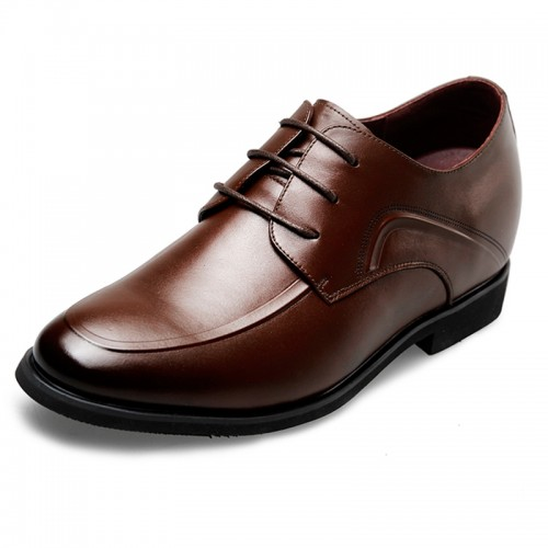 Simple Taller dressy shoes  2.6inch / 6.5cm brown lace up elevator formal shoes
