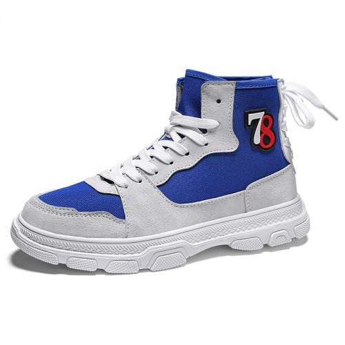 Blue High Top Lift Plimsolls Shoes for Men Height 3.4cm / 8.5cm Canvas Elevator Skateboarding Shoes