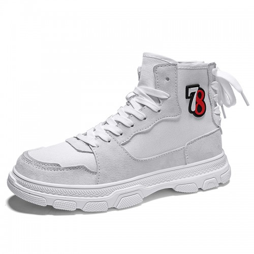 White High Top Taller Plimsolls Shoes for Men Increase 3.4cm / 8.5cm Canvas Skateboarding Shoes