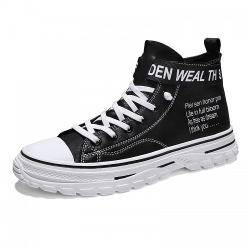 Black Hidden Lift Skateboarding Shoes for Men Taller 2.8inch / 7cm Lace Up Elevator High Top Sneakers