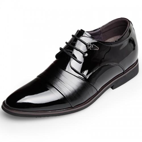 Cap Toe Wedding Shoes increase height for men 2.6inch / 6.5cm Black Elevator Formal Oxfords