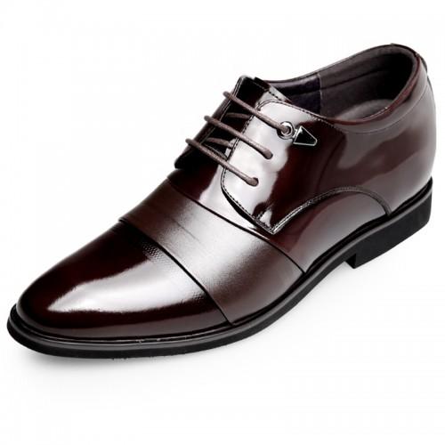 Cap Toe Wedding Shoes Get Taller 2.6inch / 6.5cm Brown Hidden Heel Formal Oxfords