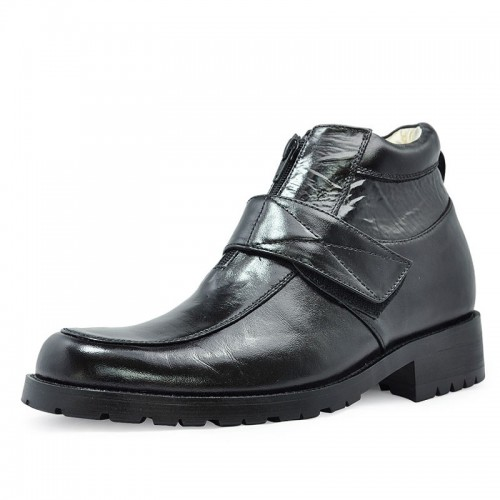 Black Height Increasing Elevator Boots grow taller 8 cm / 3.15 inches stylish style tall boots