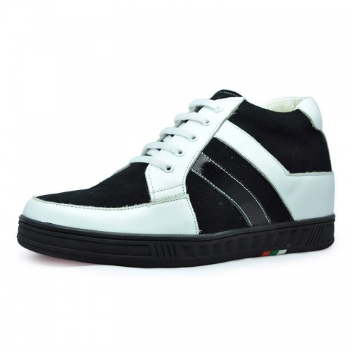Black Mens sports height increase elevator shoes 7cm/2.75inch taller