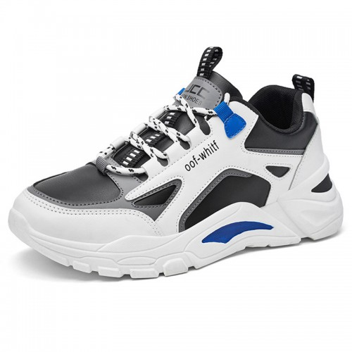 Fashion Elevator Mixes Sneakers Add Taller 3 inc / 7.5 cm Hidden Heel Lift Leather Chunky Dad Shoes