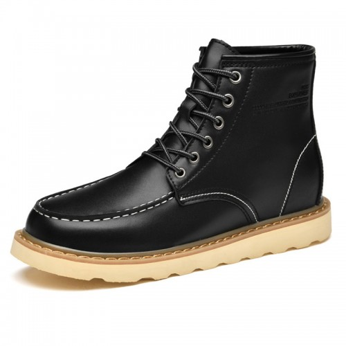 Trendy Elevator Work Boots for Men Black Hidden Lift Martin Boots Add Taller 2.6 inch / 6.5 cm