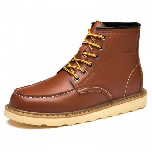 Trendy Taller Work Boots for Men Brown Hidden Lift Chukka Boots Add Height  2.6 inch / 6.5 cm Trendy Taller Work Boots for Men Brown Hidden Lift Chukka Boots Add Height  2.6 inch / 6.5 cm