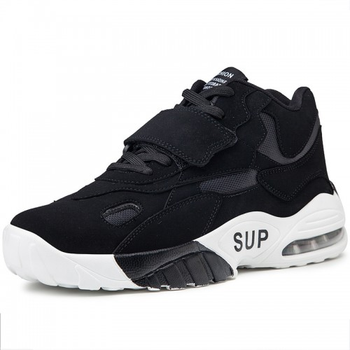 Taller Men Basketball Shoes for Men Add Height 3.2inch / 8cm Black Trendy Air Cushion Sneakers