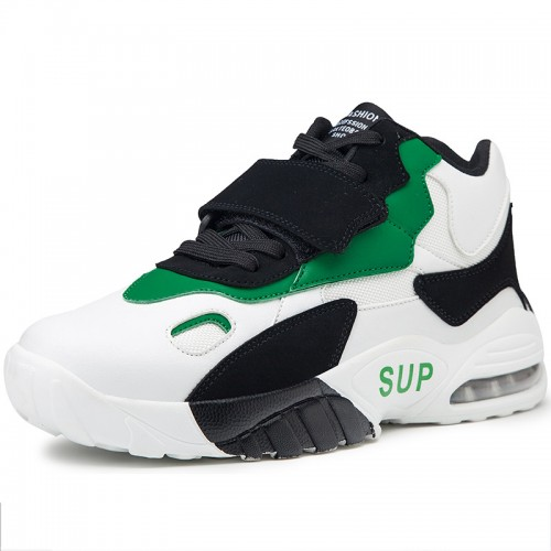 Elevator Men Basketball Shoes for Men Get Taller 3.2inch / 8cm White Velcro Air Cushion Sneakers