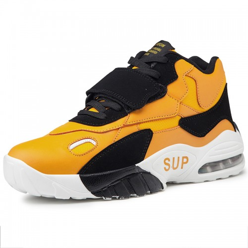 Velcro Height Increasing Men Basketball Shoes Taller 3.2inch / 8cm Yellow Air Cushion Sneakers