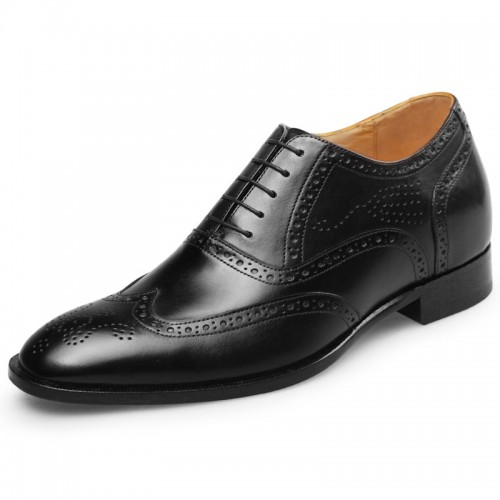 Exalted Men Brogue Elevator Shoes Black Wing Tip Height Increasing Wedding Shoes