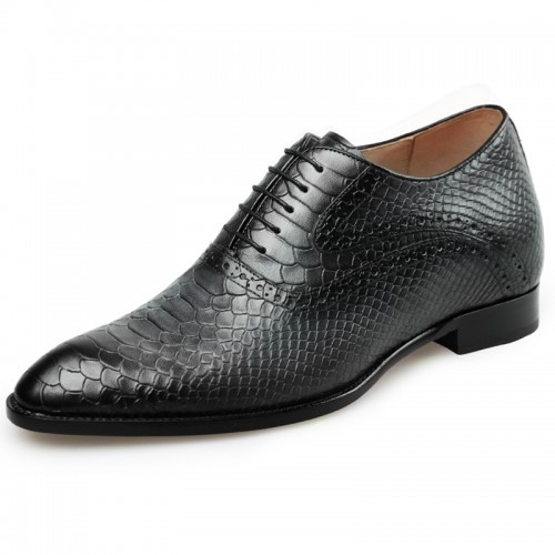 Crafted Height Increasing Wedding Shoes Taller 2.6inch / 6.5cm Python Pattern Boutique Elevator Oxfords Shoes