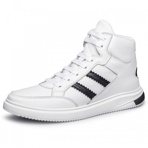 Concise Hidden Lift High Top Skate Shoes White Leather Casual Sports Boots Add Height 2inch / 5cm