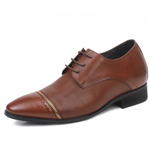 Tuxedos genuine leather height increasing shoes that make you look taller 7cm / 2.75inches elevator business shoes