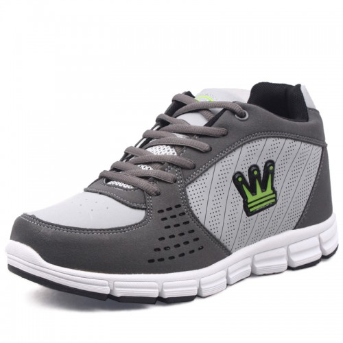 Grey Leather Lace up Sports Height Increasing Elevator Shoes heighten 7cm/2.75inch invisibly