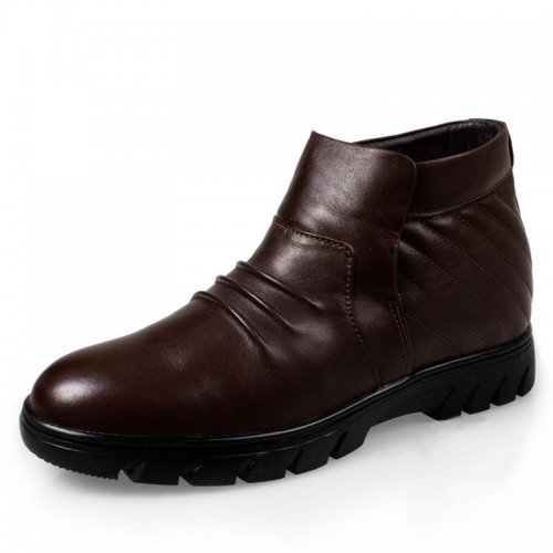 Winter cotton-padded elevator boots for men get tall 6.5cm / 2.56inches business height shoes
