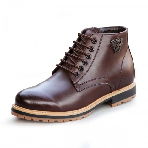 Korean men elevator dunk high boot increasing height 7cm / 2 75inches cotton padded leather boots
