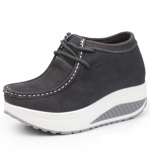 fashion women height increasing shoes get taller 8cm / 3.15inches elevator casual shoes