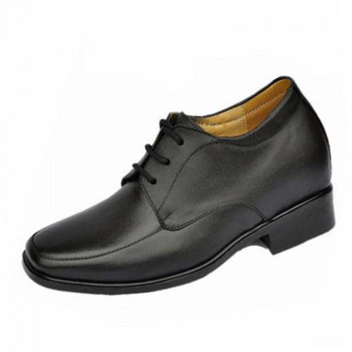 Black elevator Shoes make you taller 8cm / 3.15inches leather height increasing dress shoes