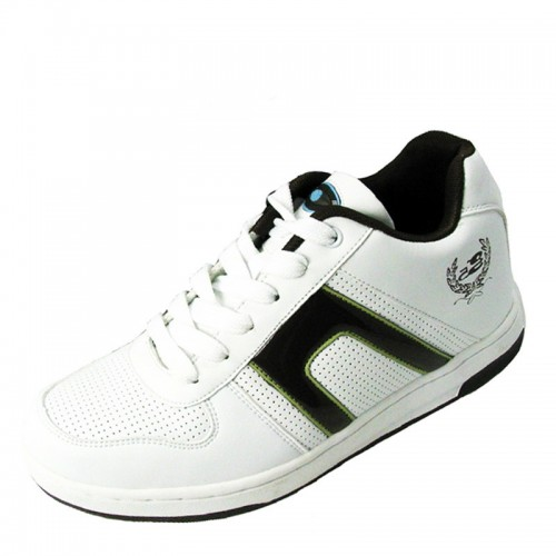 White calfskin leather Elevated Tall fashion sports elevator shoes increase height by 7cm/2.75inch